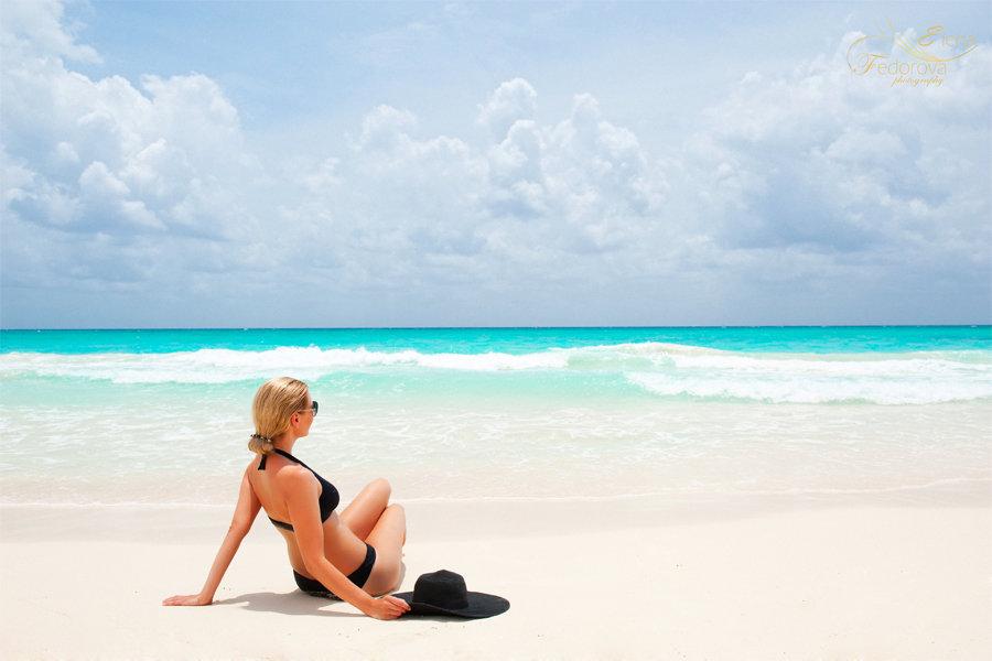 фотосесия девушки на пляже мексика