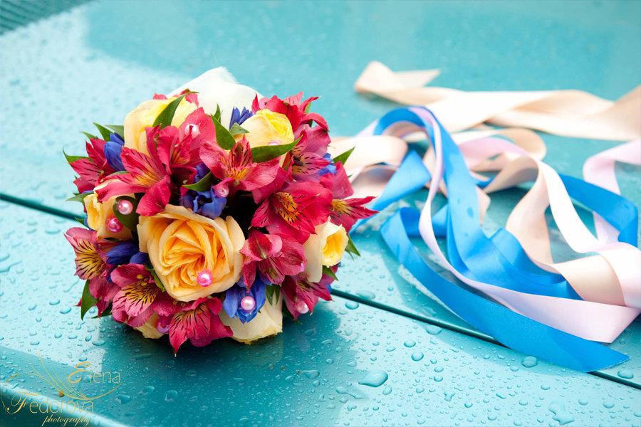 необычный свадебный букет