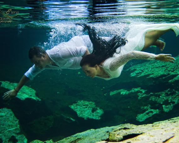 Фотосессия под водой в сеноте. Мексика