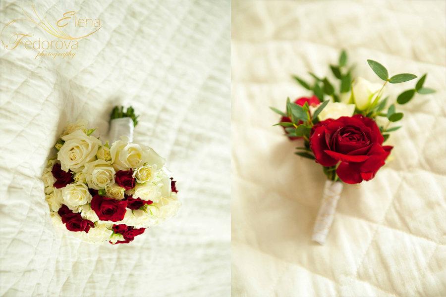 свадебный букет и бутоньерка фото