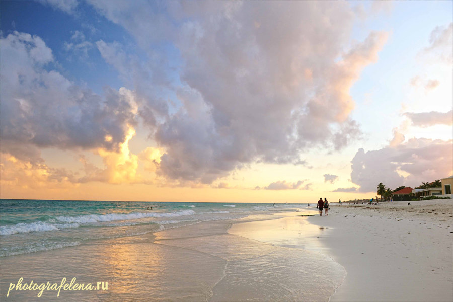 закат на пляже плая дель кармен