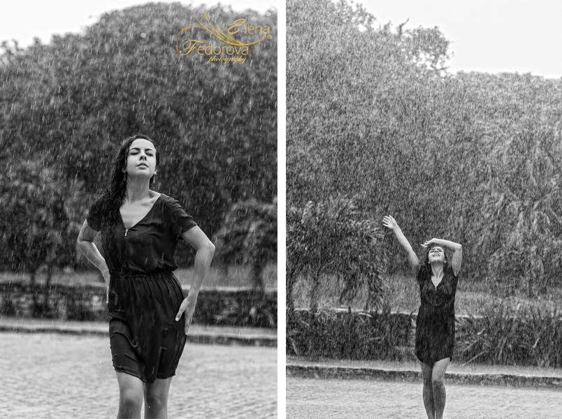 девушка под дождем фото